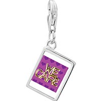 Link Charm Bracelet - 925  sterling silver we care photo rectangle frame link charm Image.