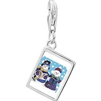 Link Charm Bracelet - 925  sterling silver snowman carolers photo rectangle frame link charm Image.