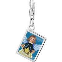 Link Charm Bracelet - 925  sterling silver angel with star photo rectangle frame link charm Image.