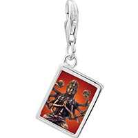 Link Charm Bracelet - 925  sterling silver bodhisatva chenrezig statue photo rectangle frame link charm Image.