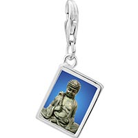 Link Charm Bracelet - 925  sterling silver stone buddha photo rectangle frame link charm Image.