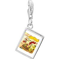 Link Charm Bracelet - 925  sterling silver animals photo rectangle frame link charm Image.