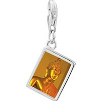 Link Charm Bracelet - 925  sterling silver gold buddha photo rectangle frame link charm Image.