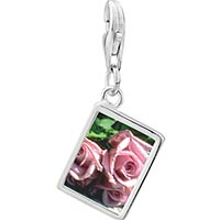 Link Charm Bracelet - 925  sterling silver dusty pink roses photo rectangle frame link charm Image.