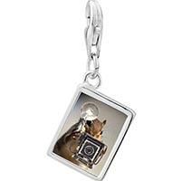 Link Charm Bracelet - 925  sterling silver squirrel taking photos photo rectangle frame link charm Image.