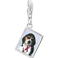 Link Charm Bracelet - 925  sterling silver puppy wearing red ribbon photo rectangle frame link charm Image.