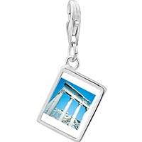 Link Charm Bracelet - 925  sterling silver roman ruins photo rectangle frame link charm Image.