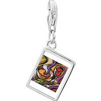 Link Charm Bracelet - 925  sterling silver first course art photo rectangle frame link charm Image.