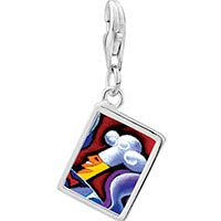 Link Charm Bracelet - 925  sterling silver chef art photo rectangle frame link charm Image.