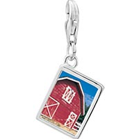 Link Charm Bracelet - 925  sterling silver red barn photo rectangle frame link charm Image.
