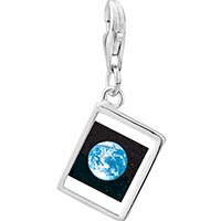 Link Charm Bracelet - 925  sterling silver earth from space photo rectangle frame link charm Image.