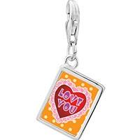 Link Charm Bracelet - 925  sterling silver love you pink photo rectangle frame link charm Image.