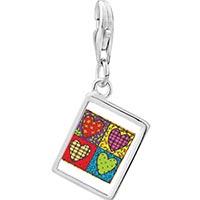 Link Charm Bracelet - 925  sterling silver heart quiltphoto rectangle frame link charm Image.