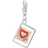 Link Charm Bracelet - 925  sterling silver rose heart wreath with arrow photo rectangle frame link charm Image.