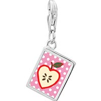 Link Charm Bracelet - 925  sterling silver sliced heart apple photo rectangle frame link charm Image.