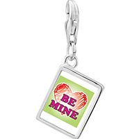 Link Charm Bracelet - 925  sterling silver be mine heart photo rectangle frame link charm Image.