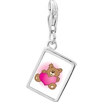 Link Charm Bracelet - 925  sterling silver brown teddy bear with heart photo rectangle frame link charm Image.