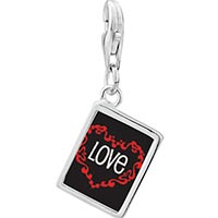 Link Charm Bracelet - 925  sterling silver love in heart photo rectangle frame link charm Image.