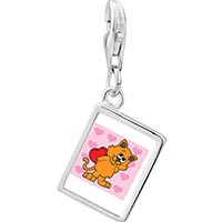 Link Charm Bracelet - 925  sterling silver cat with valentine photo rectangle frame link charm Image.