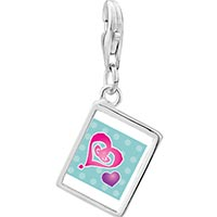 Link Charm Bracelet - 925  sterling silver painted hearts photo rectangle frame link charm Image.