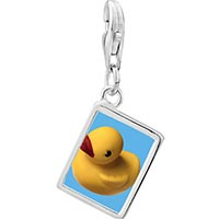 Link Charm Bracelet - 925  sterling silver yellow rubber duck photo rectangle frame link charm Image.
