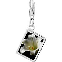 Link Charm Bracelet - 925  sterling silver white lily photo rectangle frame link charm Image.