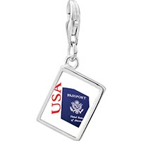 Link Charm Bracelet - 925  sterling silver usa passport blue photo rectangle frame link charm Image.
