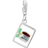 Link Charm Bracelet - 925  sterling silver tea lover photo rectangle frame link charm Image.
