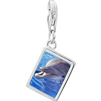 Link Charm Bracelet - 925  sterling silver smiling dolphin photo rectangle frame link charm Image.