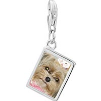 Link Charm Bracelet - 925  sterling silver shih tzu dog photo rectangle frame link charm Image.