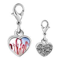 Link Charm Bracelet - 925  sterling silver candy cane land photo heart frame link charm Image.