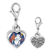 Link Charm Bracelet - 925  sterling silver building a snowman photo heart frame link charm Image.