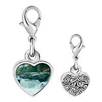 Link Charm Bracelet - 925  sterling silver waterfall paradise photo heart frame link charm Image.