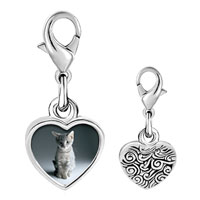 Link Charm Bracelet - 925  sterling silver kitty portrait photo heart frame link charm Image.