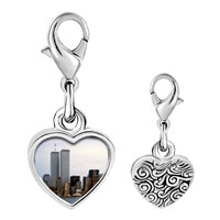 Link Charm Bracelet - 925  sterling silver new york twin towers photo heart frame link charm Image.