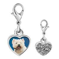 Link Charm Bracelet - 925  sterling silver west highland terrier photo heart frame link charm Image.