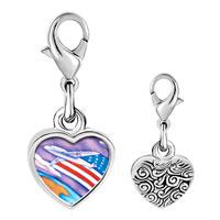 Link Charm Bracelet - 925  sterling silver usa flag plane photo heart frame link charm Image.