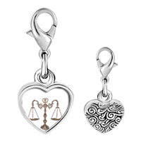 Link Charm Bracelet - 925  sterling silver law scales photo heart frame link charm Image.