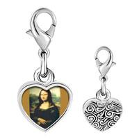 Link Charm Bracelet - 925  sterling silver da vinci' s art mona lisa photo heart frame link charm Image.