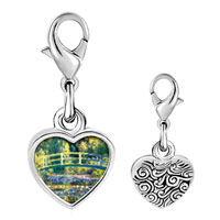 Link Charm Bracelet - 925  sterling silver bridge at giverny photo heart frame link charm Image.