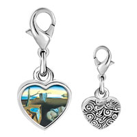 Link Charm Bracelet - 925  sterling silver dali' s persistence of memory photo heart frame link charm Image.