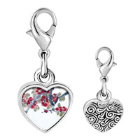 Link Charm Bracelet - 925  sterling silver apricot blossoms art photo heart frame link charm Image.
