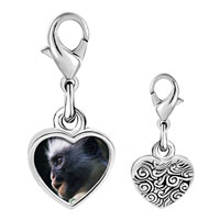 Link Charm Bracelet - 925  sterling silver friendly monkey photo heart frame link charm Image.