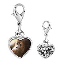 Link Charm Bracelet - 925  sterling silver goofy monkey photo heart frame link charm Image.
