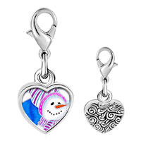 Link Charm Bracelet - 925  sterling silver striped hat snowman photo heart frame link charm Image.