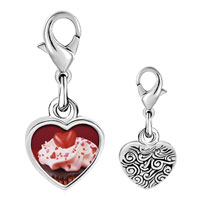 Link Charm Bracelet - 925  sterling silver chocolate cupcake love photo heart frame link charm Image.