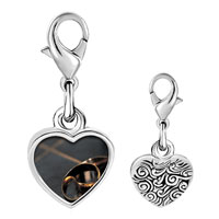Link Charm Bracelet - 925  sterling silver gold wedding bands photo heart frame link charm Image.