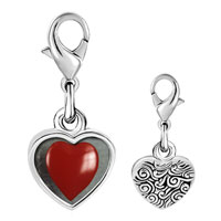 Link Charm Bracelet - 925  sterling silver red heart photo heart frame link charm Image.