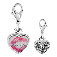 Link Charm Bracelet - 925  sterling silver i love you kiss photo heart frame link charm Image.