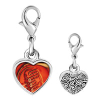 Link Charm Bracelet - 925  sterling silver french horn photo heart frame link charm Image.